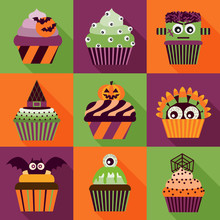 Halloween Cupcakes Icons With ...