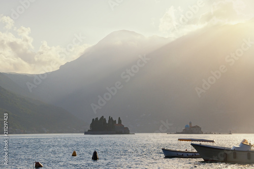 Keuken foto achterwand Grijs Beautiful landscape with last rays of setting sun. Montenegro, Bay of Kotor, Perast. Island of Our Lady of the Rocks and Isnand of Saint George