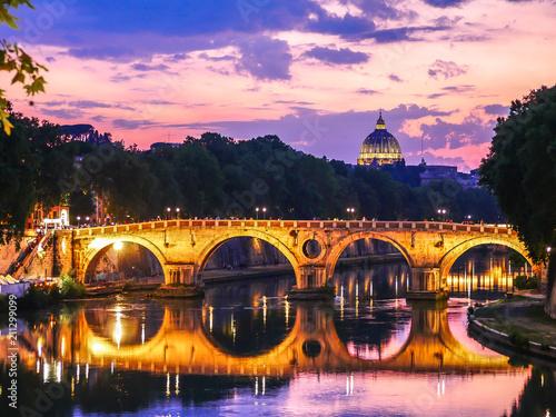 Zdjęcie XXL Most refleksyjny Rzym - Bazylika Dome - Watykan