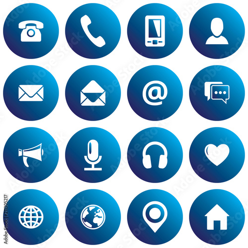Blue spherical communication icon set  Vector images for