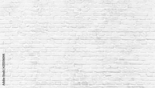 Photo sur Toile Brick wall White painted old brick Wall