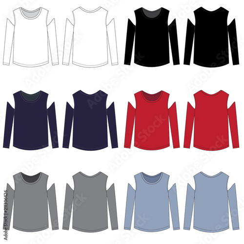 vector cold shoulder long sleeve tee template buy this stock
