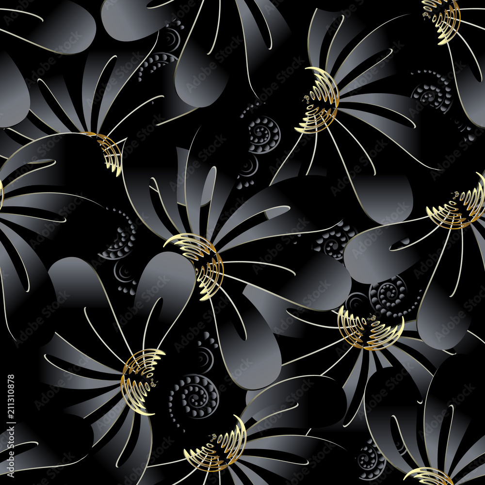 Ornate dark black floral 3d seamless pattern