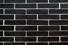 Black Brick Tiles With White G...