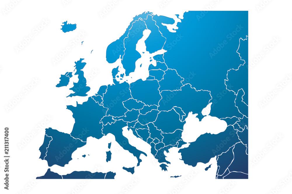 Fototapeta Mapa azul de Europa.