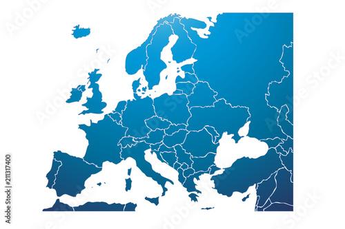 Obraz Mapa azul de Europa. - fototapety do salonu