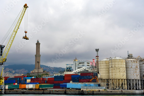 Tuinposter Poort the industrial port and view of Genoa Italy