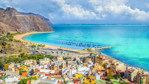 Printed kitchen splashbacks Canary Islands View of San Andres village and Las Teresitas beach, Tenerife, Canary Islands, Spain