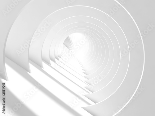 Abstract white bent tunnel with glowing end