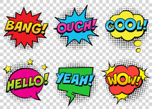 Retro Comic Speech Bubbles Set...