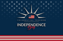 Independence Day USA Blue Background, Vintage / Retro Feel. The United States Flag, Independence Day Lettering Vector