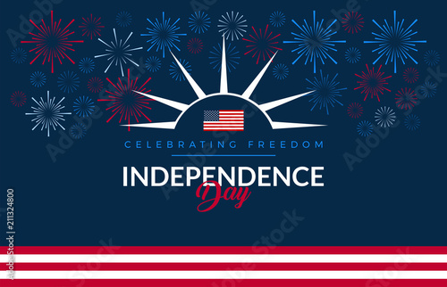 Fotografia Happy 4th of July fireworks - Independence Day USA blue background with the Unit