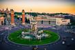Aerial view of Placa De Espanya square at sunset. Barcelona. Spain