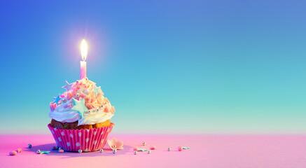 Fototapeta Birthday Cupcake With One Candle