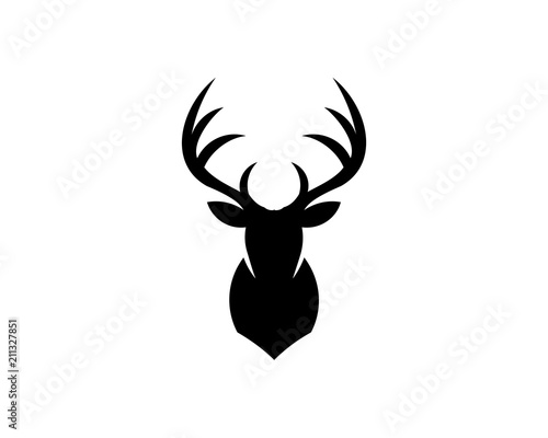Valokuvatapetti Silhouette of deer head with antlers isolated on white background