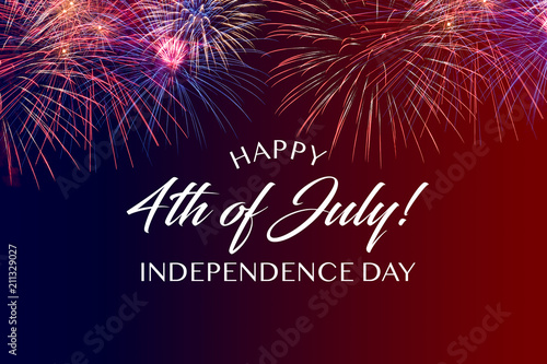 Fotografie, Obraz  Happy JUly 4th greeting with red and blue background with fireworks