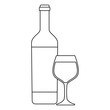 wine bottle and glass icon over white background, vector illustration