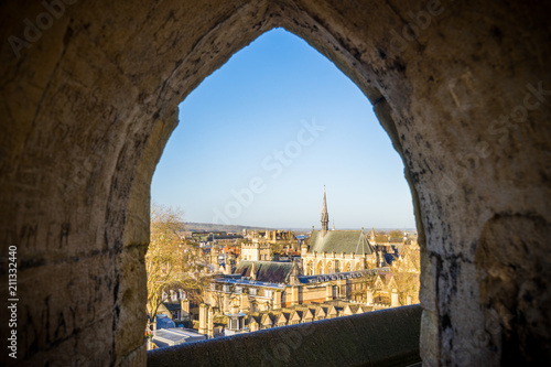 Canvas Print Oxford City viewed through the tower of St. Mary church