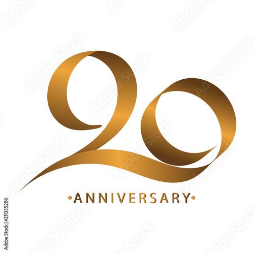 Photo  Handwriting celebrating, anniversary of number 20 20th year anniversary, Luxury
