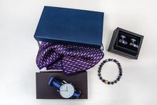 Men Accessory, Arm Button, Navy Blue Cowl, Tie, Wrist Watch, Handkerchief, Bracelet, Socks.