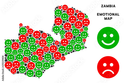 Carta da parati Happiness and sorrow Zambia map collage of emojis in green and red colors