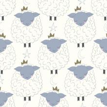Vector Sleepy Sheep With Crown...