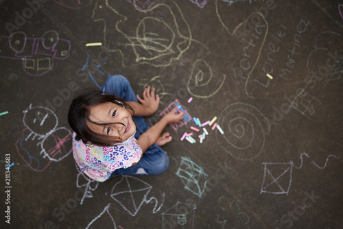 plakat Asian small girl with chalk