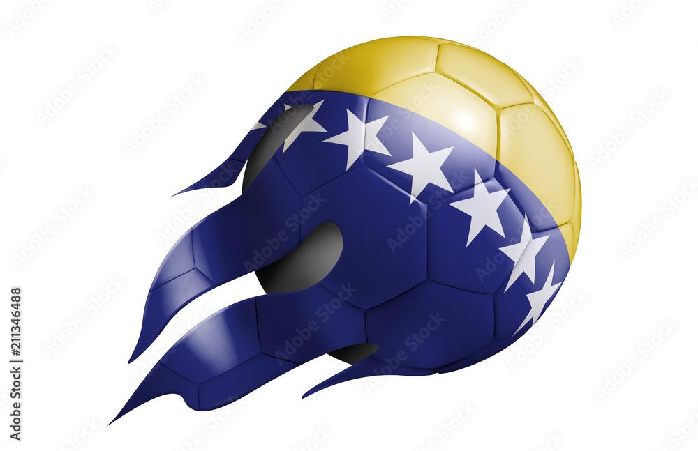 Fliegender Fussball Mit Bosnien Und Herzegowina Flagge Foto Poster