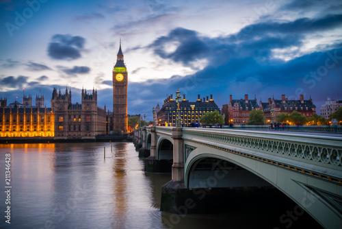 Poster London Big Ben and Westminster bridge