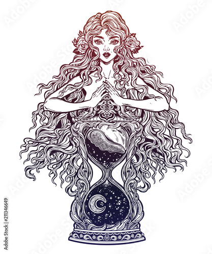 Beautiful woman as a goddess ot time holding decorative antique hourglass illustration Canvas-taulu