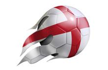 Flying Soccer Ball With England Flag