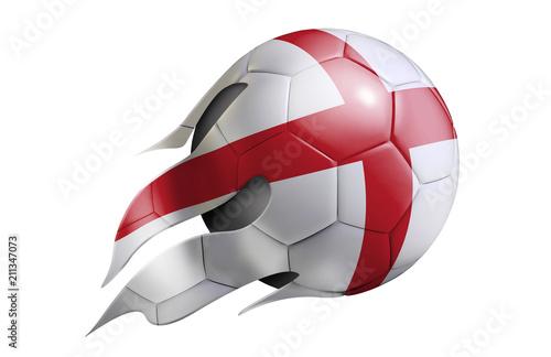 Fotografie, Obraz  Flying Soccer Ball with England Flag