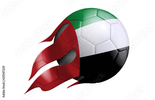 Fotografie, Obraz  Flying Soccer Ball with United Arab Emirates Flag