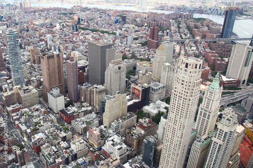Aerial view of new york city from one world trade building плакат