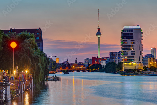 Poster Berlin The River Spree in Berlin after sunset with the TV Tower in the back
