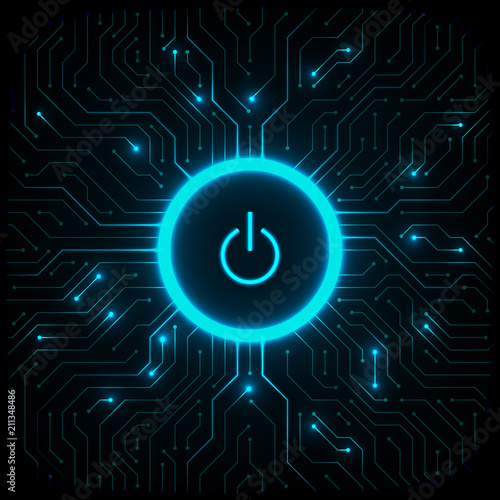 Fotografía  Cyber security concept. Power button on technology background.