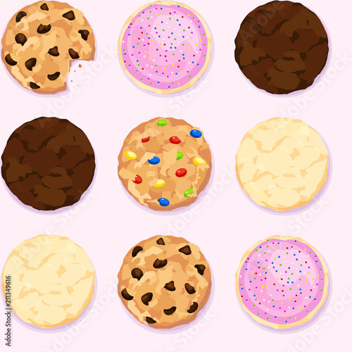 Cuadros en Lienzo Seamless repeating background of chocolate chip, icing and sprinkles, fudge, can