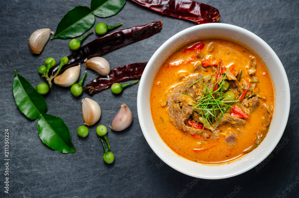 Fototapety, obrazy: Thai red chili Panang curry with beef
