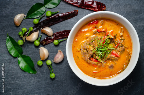 Thai red chili Panang curry with beef Wallpaper Mural