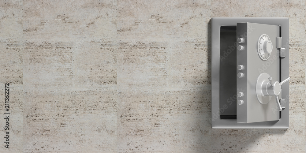 Fototapety, obrazy: Safety vault isolated with open door and copy space on a marble wall background. 3d illustration.