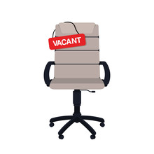 Business Hiring And Recruiting Concept. Vacant Position Concept. Empty Office Chair With Vacant Sign Isolated On White Background