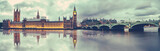 Fototapeta London - Panoramic view of Houses of Parliament, Big Ben and Westminster Bridge with reflection, London