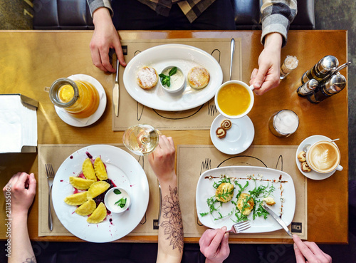 Foto op Canvas Assortiment breakfast in the cafe