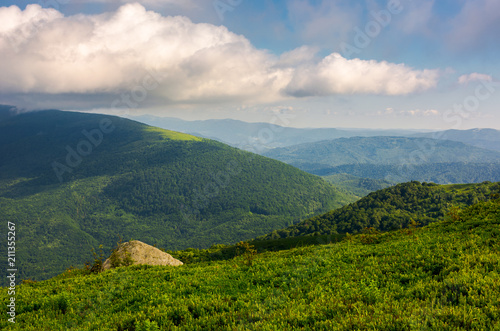 Foto op Aluminium Donkergrijs green hill of polonina Runa in summer. Fine weather with some clouds on a blue sky in mountainous landscape of Carpathian region