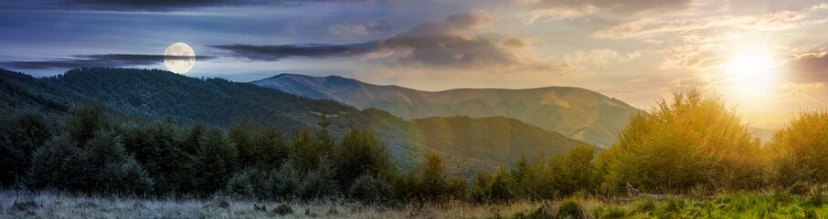 Fototapeta time change concept over the Carpathian mountains. panorama with sun and moon in the sky. beautiful landscape with forested hills and Apetska mountain in the distance.