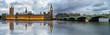 Panoramic picture of Houses of Parliament, Big Ben and Westminster Bridge with reflection, London