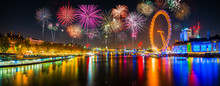 Panorama Of Thames River In London With Fireworks. Celebration Of The New Year In London, UK