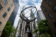 St. Patrick's Cathedral And Atlas Statue In Manhattan, New York City