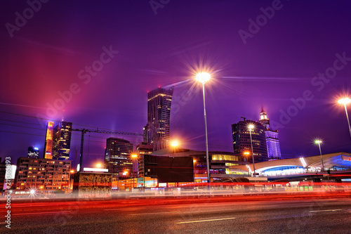 Poster Stad gebouw panorama of the city of Warsaw by night