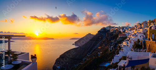 Foto auf Gartenposter Santorini Sunset panorama of Fira, capital of Santorini island, Greece
